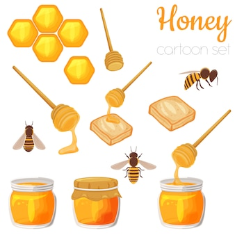 Honey elements cartoon illustration set, isolated cute clip-art.