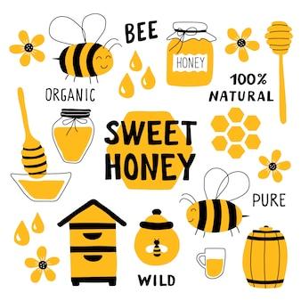 Honey elements doodle set.