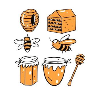 白に分離された蜂蜜の要素セット