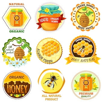 Honey emblem set with descriptions of natural organic fresh honey best price all natural product vector illustration