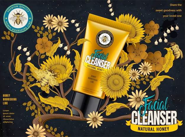 Honey facial cleanser ads, cosmetic tube in  illustration with elegant flowers elements in etching shading style, dark blue and yellow tone