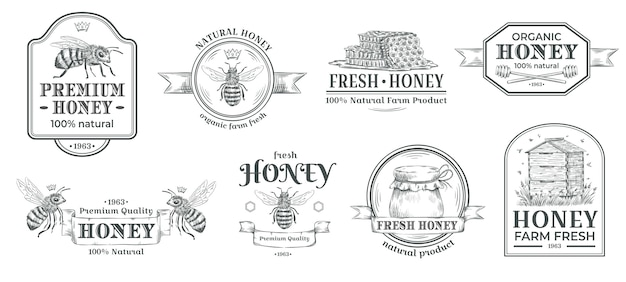 Honey farm badge. beekeeping logo, retro bee badges and vintage hand drawn mead label vector illustration set