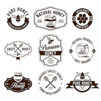 Set di etichette piatte di fattoria di miele