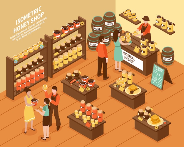 Honey farm shop isometric poster
