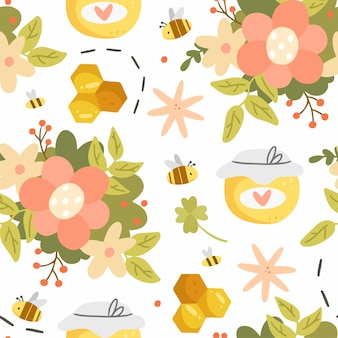 Honey and flowers seamless pattern