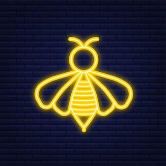 ハニーフライングビー。蜂のアイコン。ネオンスタイル。ベクトルイラスト。