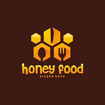 Honey food логотип дизайн концепции вектор