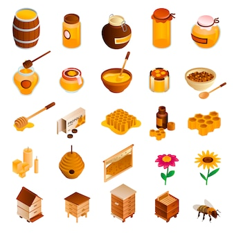 Honey icon set. isometric set of honey