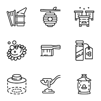 Honey icon set, outline style