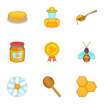 Honey icons set, cartoon style