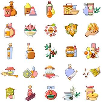 Honey icons set, cartoon style