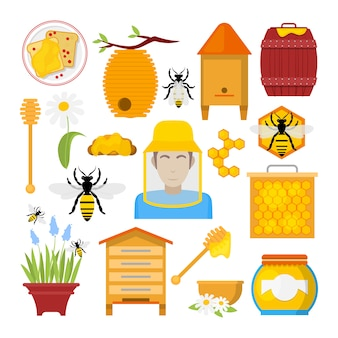 Honey icons set with bee, beekeeper, honeycomb. healthy organic food.