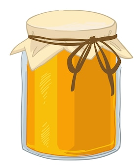 스레드 유기농 제품과 유리 항아리에 꿀