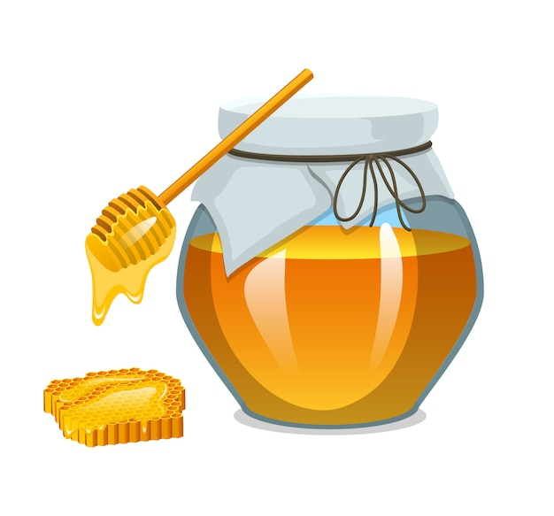 Мед в банке или натуральный фермерский продукт. еда в сотах, приготовленная пчелами.