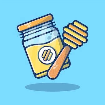 Honey jam isolated on blue