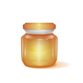 Реалистичная баночка для меда с вкусным медом на 3d-иллюстрации