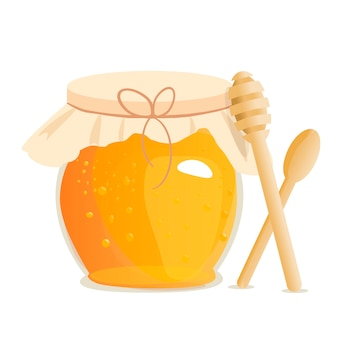 Honey jar vector illustrations.