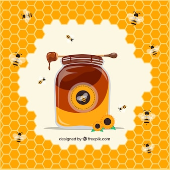 Honey jar with hive and bees background