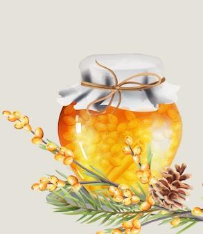 Honey jar with yellow berries and cinnamon