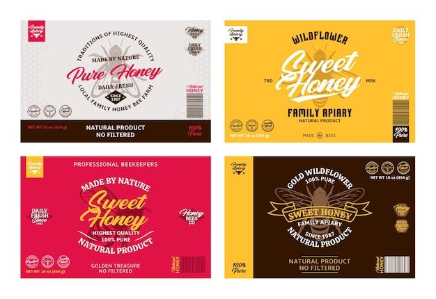 Элементы дизайна медовой этикетки и упаковки