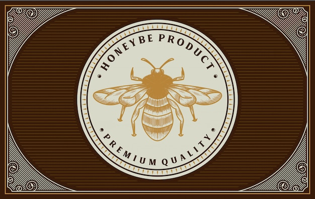 Honey label design with bee element
