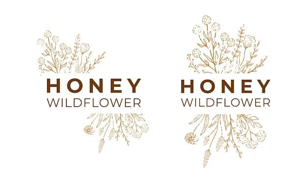 패키지에 대한 꿀 레이블입니다. 텍스트가 있는 야생화 로고 밑그림입니다. 꽃 상징 세트, 꿀 디자인. 빈티지 손으로 그린 허브, 꽃을 설명합니다. 현대적인 스타일. 벡터 일러스트 레이 션 흰색 배경에 고립