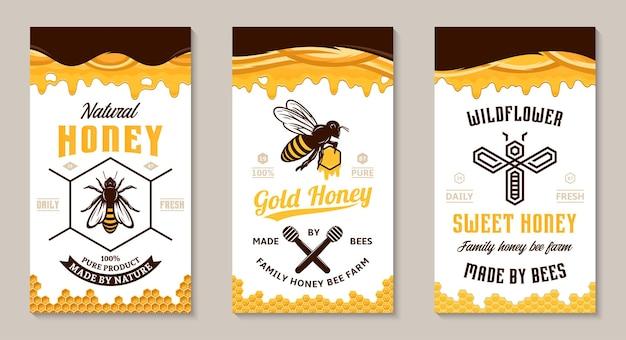 Honey labels design templates.