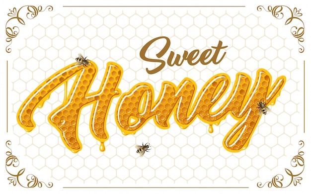 Медовая надпись с пчелами