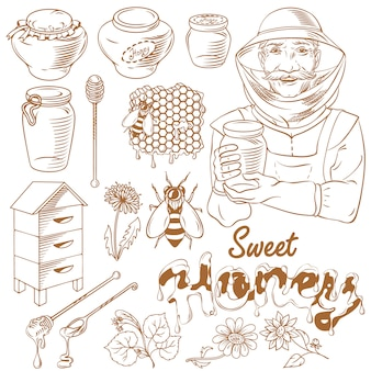 Honey monochrome illustration set