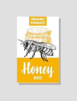 蜂蜜生産カード。蜂蜜を製造する会社のアイデンティティ。養蜂ポスター。手描きのビンテージスタイルのイラスト。カードのデザインテンプレートです。レトロな背景。