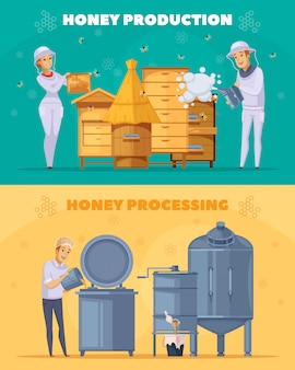 Honey production cartoon horizontal banners