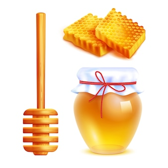 Honey realistic icons set