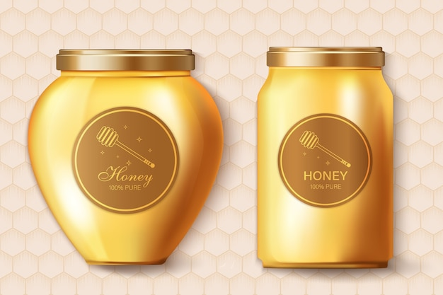 Мед реалистичная этикетка размещения продукта.