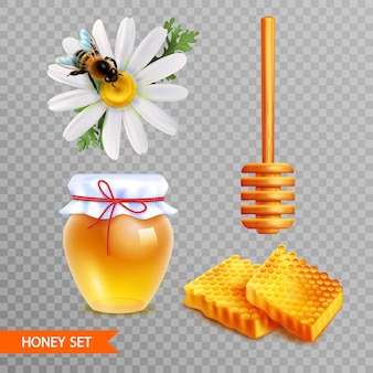 Honey realistic set on transparent  background