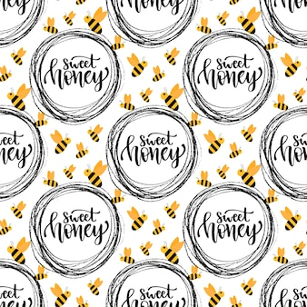 Honey seamless pattern with bee. packaging design with calligraphic sweet honey