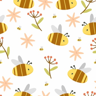 Honey seamless pattern with bees and flowers in cute cartoon style