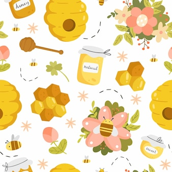 Honey seamless pattern with different objects in a cute cartoon style