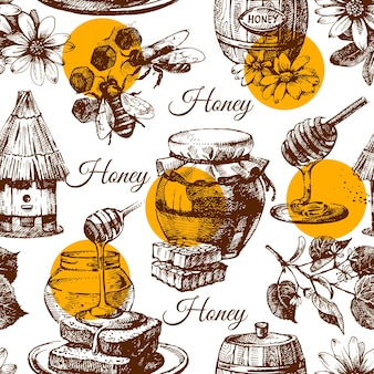 Honey seamless pattern with hand drawn sketch illustration