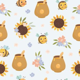 Honey seamless pattern with sunflowers