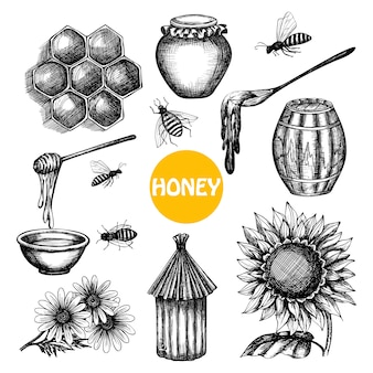 Honey set black hand drawn doodle