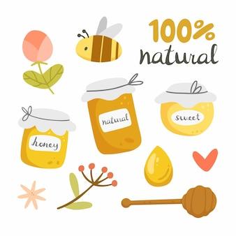 Honey set in cartoon doodle style on white