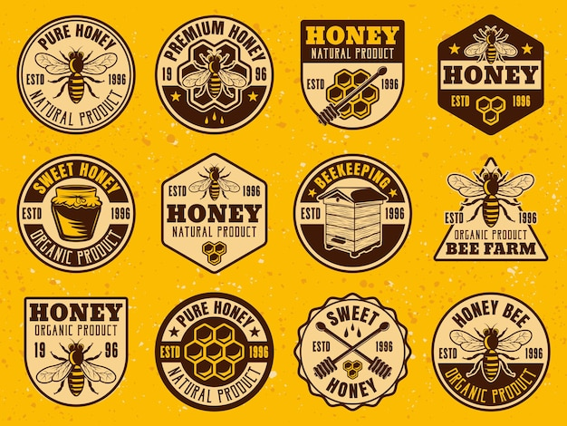 Honey set of colored bright logo badges or labels