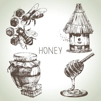 Набор меда. ручной обращается старинные иллюстрации