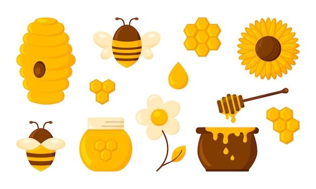 Набор меда, соты, пчела, улей, шестиугольник, банка, горшок, капли, тосты сироп и цветы. сладости