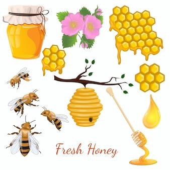 Набор меда. набор иконок пчелы. изолировать на белом фоне.