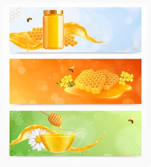 Set miele di tre striscioni orizzontali con immagini realistiche di fiori piatti e pettini con illustrazione di api honey