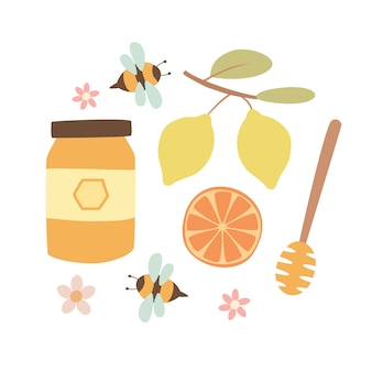 Honey set with bees