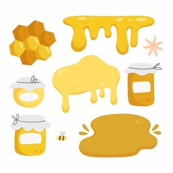 Honey set with elements in cartoon doodle style isolated on white