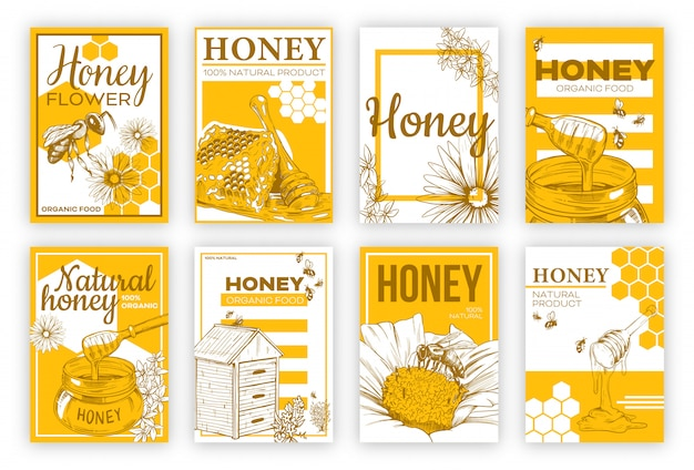 Honey sketch flat poster set