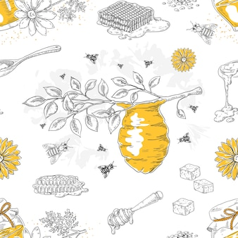 Honey sketch pattern. hand drawn honeycomb and beehive seamless pattern